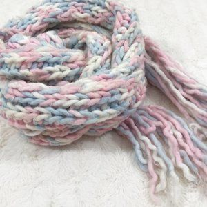 Hand Knit Wool Scarf Pastel